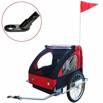 Kids Children Foldable Bike Bicycle Trailer with Extra Connector Red 36 kg