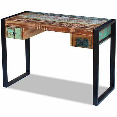 Solid Reclaimed Recycled Wood Desk Table Handmade 2 Drawers Rustic 100x50x77 cm