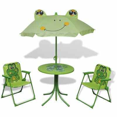 Four Piece Kid Children Garden Furniture Set Table Chair Seat Sun Umbrella Green