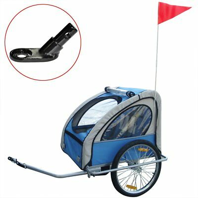Kids Children Foldable Bike Bicycle Trailer with Extra Connector Blue 36 kg