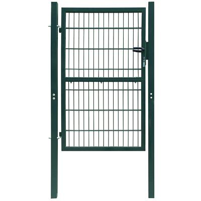 vidaXL Fence Gate Security Barrier Garden Patio Terrace Steel Green 106x250 cm