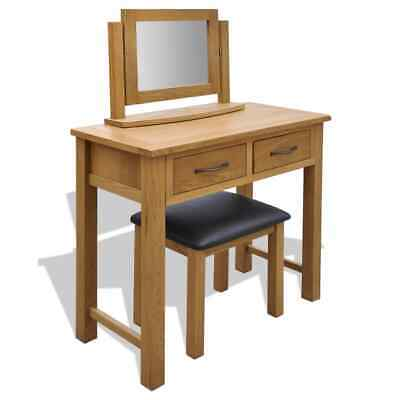 Oak Wooden Dressing Table Vanity Unit Makeup Desk 2 Drawers with Stool/Mirror