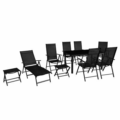 vidaXL 10 Piece Folding Garden Furniture Set Table Chairs Sun Lounger Footstools
