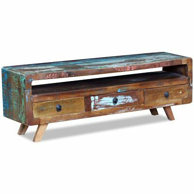 TV Media Cabinet Stand with 3 Drawers Solid Reclaimed Recycled Wood Home Decor