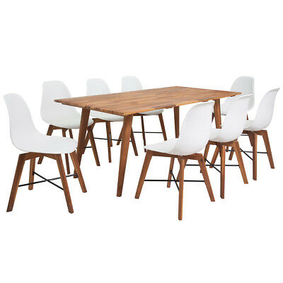Nine Piece Solid Acacia Wooden Dining Set Table and Chairs Furniture White