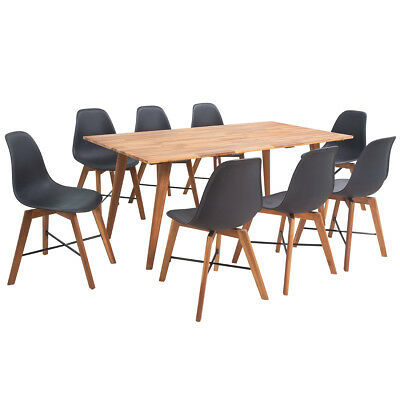Nine Piece Solid Acacia Wooden Dining Set Table and Chairs Furniture Black