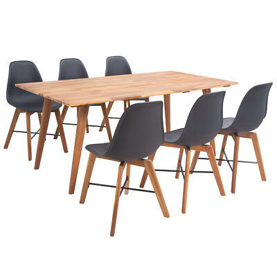 Seven Piece Solid Acacia Wooden Dining Set Table and Chairs Furniture Black