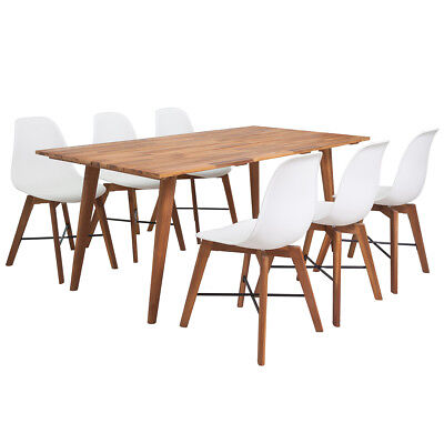 Seven Piece Solid Acacia Wooden Dining Set Table and Chairs Furniture White