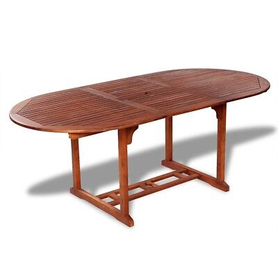 Outdoor Garden Wooden Folding Extendable Dining Table Furniture Oval Acacia Wood