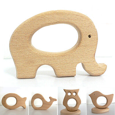 New Baby Wooden Animal Bite Teether Teething Baby Gift Rattle Crochet Beads Uk