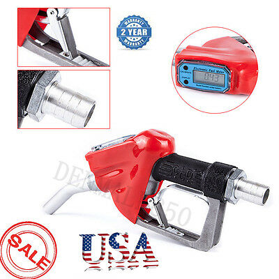 Digital Fuel Delivery Nozzle Gun 1'' Gasoline Diesel Oil Petrol w/Flow Meter USA