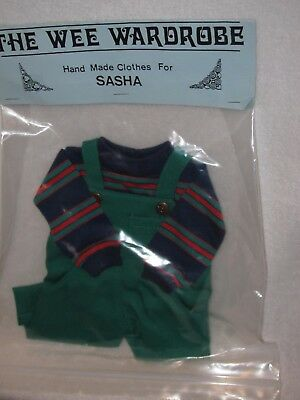 """Green Denim Overall & Stripped Shirt Clothes To Fits 16"""" Sasha Gregor Doll"""