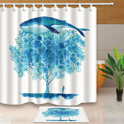 Watercolor Whale And Tree Waterproof Polyester Fabric Shower Curtain 71x71 Inch