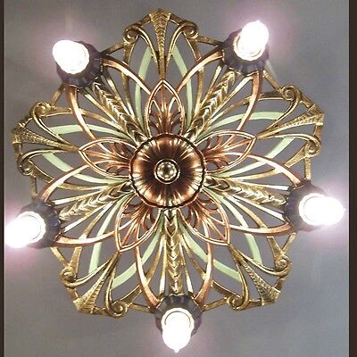 990 Vintage 1920s 30s aRT NOuveau Ceiling Light lamp fixture chandelier 5 Light