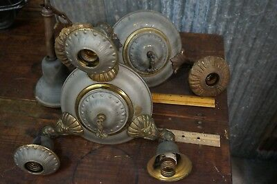 2 Antique Art Nouveau Brass Chandelier Ceiling Lighting Fixture Ornate Pan Light