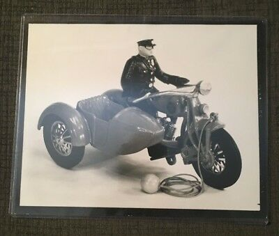 1931 Hubley Advertising Photo 8 x 10 - Toy Policeman on Motorcycle with Sidecar