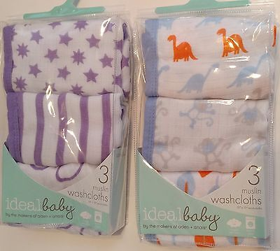 Ideal Baby By Makers of Aden & Anais 3 pk Muslin Washcloths Baby Washcloth Set
