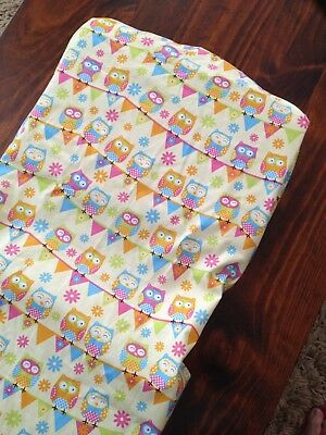 Brand New Hand Made Colourful Owls  Change Table Cover Mat Nappy Baby