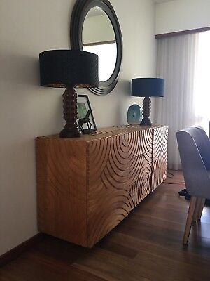 Beautiful Buffet Sideboard Wooded Carved Art TV Hall Table Unique One Off Piece