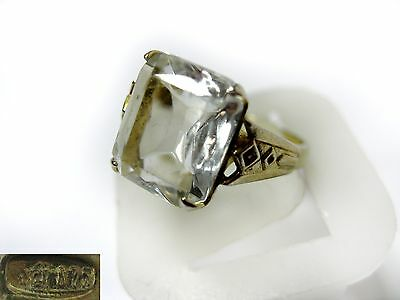 Vintage Antique RING SILVER GOLD PLATED 875 star Size 6,5 White Stone 3,46g USSR