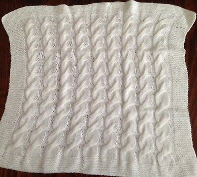 Brand New  Hand Knitted White Cable Blanket For Bassinet Or Pram  Baby Cot.