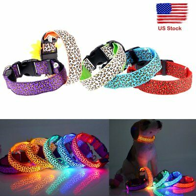 Adjustable Nylon Pets Dog LED Lights Glows Waterproof Flash Night Safety Collar