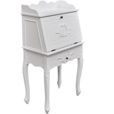 vidaXL Wooden Secretary Desk Vintage Storage French Style White Carved Writing