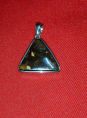 Natural Queensland Boulder Matrix Opal Pendant - 34.8 Carats  Set In St. Silver
