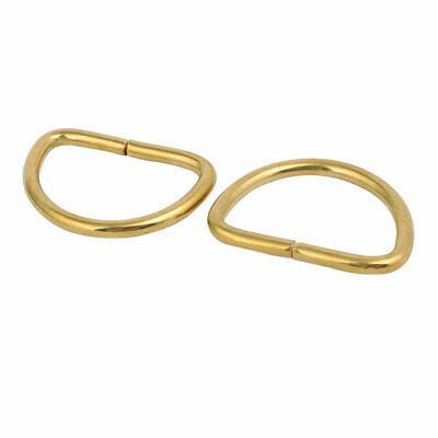 40mm Inner Width Brass D Shaped Non Welded Ring Brass Tone 2pcs