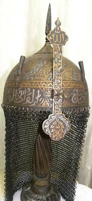 Antique Indo Persian Warrior Helmet Vine Bands Arabic Calligraphy