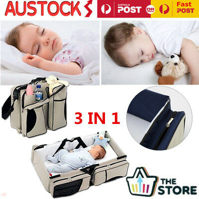 3 in1 Foldable Baby Infant Travel Bag Bed Crib Portable Diaper  Bassinet