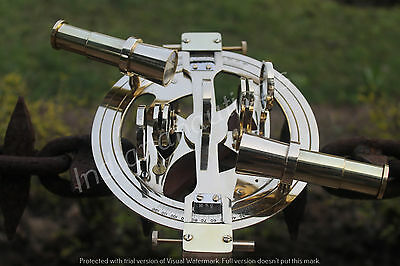 "Antique Vintage Solid Brass 6"" Round Sextant Maritime Navy Replica"