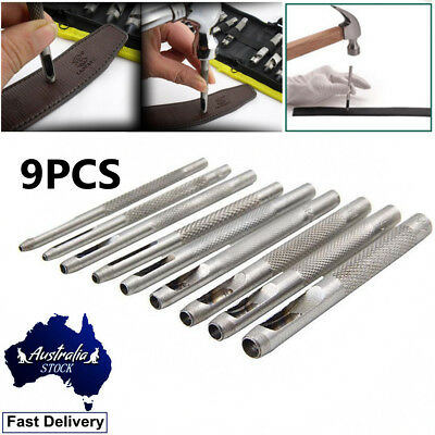 Hollow Punch Set 9PC Leather Hole Punch Punching Tool Gasket Cutter Hardened New