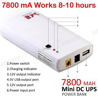 XGODY NEW 7800mA UPS Power Bank 12V Backup Battery For TV BOX Routers Tablet PC
