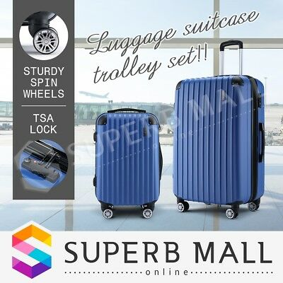 Luggage Suitcase Travel Trolley Set Carry TSA Lock On Bag Lightweight 2pc Blue
