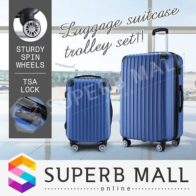 Luggage Suitcase Trolley Set Carry TSA Lock On Bag Lightweight 2pc Blue