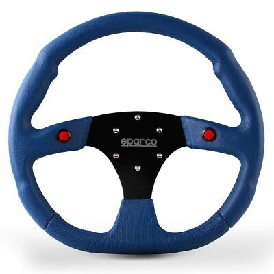 320MM SPARCO Blue Dished Genuine Leather Twin Two Button Sport Steering Wheel