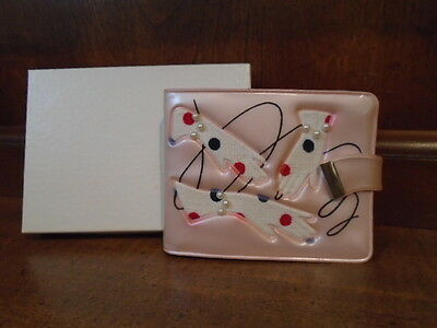 Vintage 50s NOS Aristocrat Fifth Avenue pink ladies wallet FANCY pearls gloves