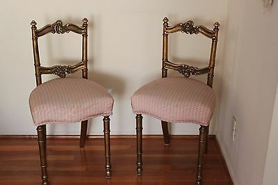 Pair of French Rococo Louis XVI Style Gilt Gold Carved Wood Accent Chair