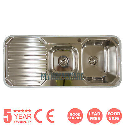 LEAD FREE 304 Stainless Steel Double Bowl Kitchen Sink Top Mount Left Drainboard