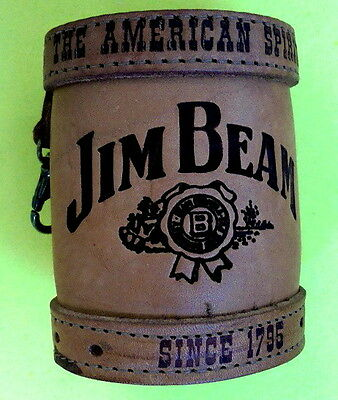 Jim Beam Stubby Holder Made From Quality Heavier Leather & Belt Clip Never Used