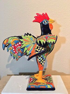 Talavera Rooster  Large 14 x 11 Hen Gamecock Animal Mexican Pottery Statue