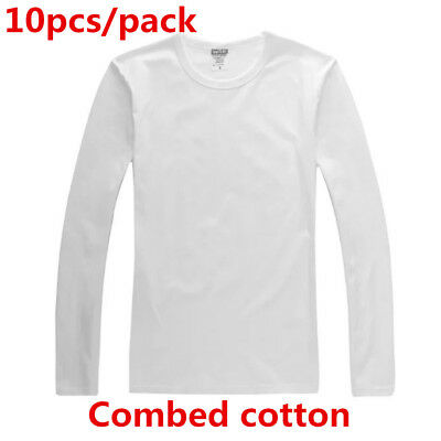 10pcs Screen Printing Blank Long Sleeve T-Shirts Combed Cotton T-Shirts for Men