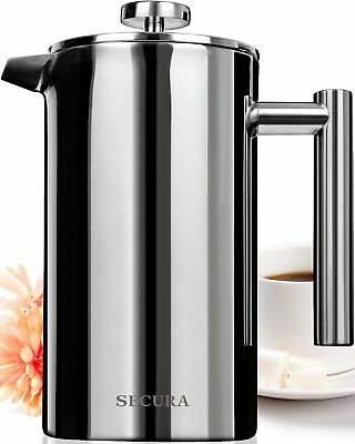 Secura French Press Coffee Maker, Stainless Steel 18/10, 34-Ounce/1000milliliter