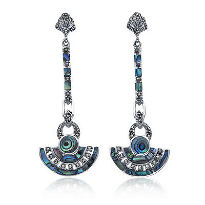 Stunning Art Deco Style Marcasite Earrings 925 Sterling Silver