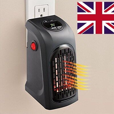UK!240V 350W Portable Wall-Outlet Electric Heater Fan Handy Air Warmer Silent
