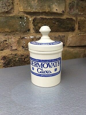 Wade vintage 1970s stoneware Dermovate Glaxo jar with glue-repaired lid