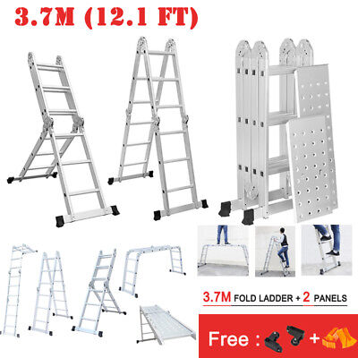5M A-Frame Folding Telescopic Ladder Steps Extendable Aluminium Multi-Purpose UK