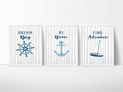 Sailor Nursery Prints Wall Art Kids Room Decor, Beach, Boat, Anchor