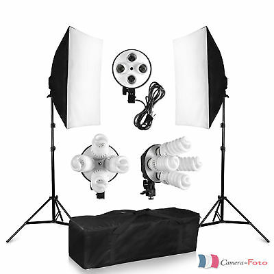 1520W Studio Softbox Continu Quatre Têtes Kits d'Eclairage Photographique FR